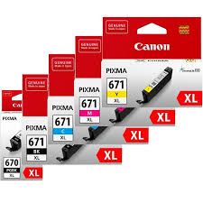 Genuine Canon PGI670XL, CLI671XL Value Pack Ink Cartridges