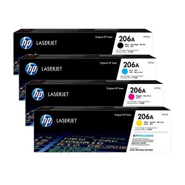 Original HP Colour LaserJet Pro M255de, M282, M283fdw Multicolour Multipack Toner Cartridges 206A