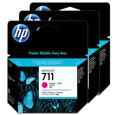 Genuine HP 711 Magenta Triple 3 Pack ink cartridges