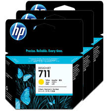 Genuine HP 711 Yellow Triple 3 Pack ink cartridges
