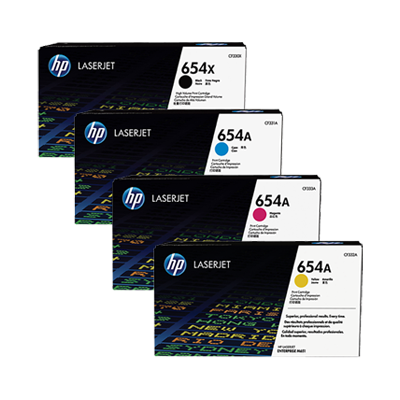 Original HP Colour LaserJet  M651, M651n, M651dn, M651x Multicolour Multipack Toner Cartridges 654A, 654X