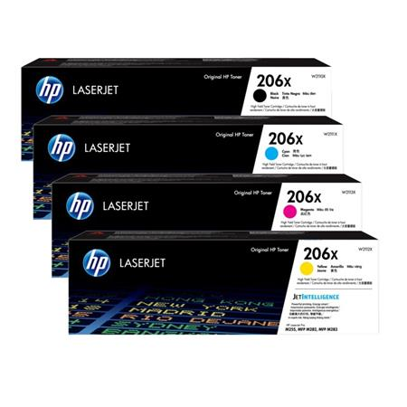Original HP Colour LaserJet Pro M255de, M282, M283fdw Multicolour Multipack High Yield Toner Cartridges 206X