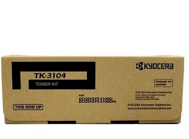 Genuine Kyocera Printer FS2100, FS2100d, FS2100dn, Ecosys M3040, M3040dn, M3540, M3540d Black Toner Cartridge Kit TK-3104