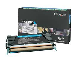 Genuine Lexmark C736, X736, X738, C736H1CG Cyan Toner Cartridge
