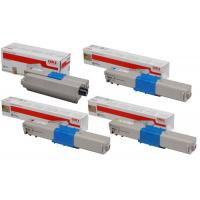 Genuine Oki C301, C321, MC342 Colour Laser Printer Multicolour Multipack Toner Cartridges 44973548, 44973547, 44973546, 44973545